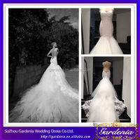 Brand Name 2014 Latest Fashion Detachable Train Real Sample Mermaid Wedding Dress Long Tail Lace Wedding Dress Patterns (ZX893)