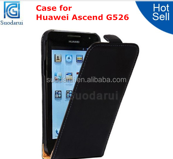 Factory Price Ultra Slim Leather Flip Cover Case for Huawei Ascend G526