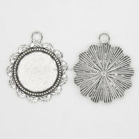 RS-1015Y 18mm Nickel free Silver finish round wholesale pendant trays blank