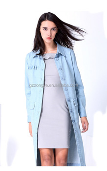 New fashion pure cotton ladies long denim thin trench coats
