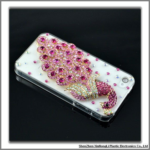Handmade mobile phone case for iphone4G/S with sumptuous jewellery