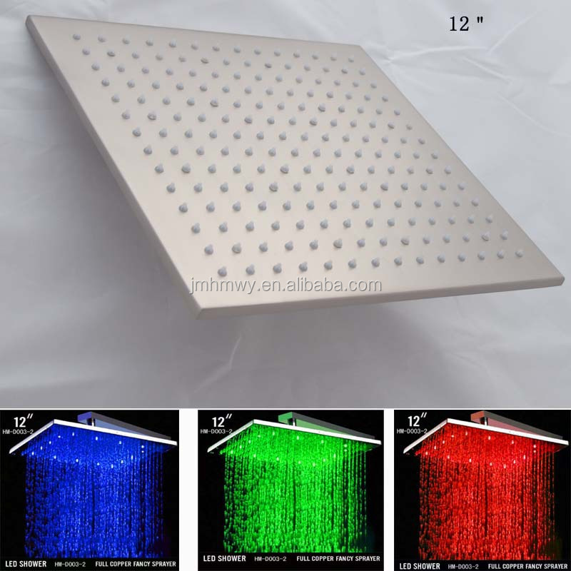 nickel brushed led rain shower head brass Nickel brushed 12 inches rainfall square Nickel brushed led rain shower head