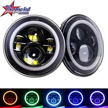 "Bluetooth control 50w 7 inch rgb halo rings jeep wrangler led headlight 7"" led color changing angel eyes headlight jeep tj/cj/jk"