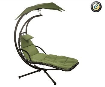 Outdoor Hanging Hammock Swing Chair with Arc Stand, Green Color