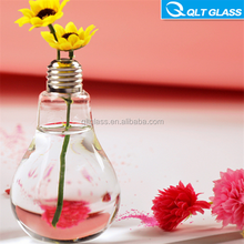 wholesale transparent 200ml lamp bulb glass bottle with golden metal lid