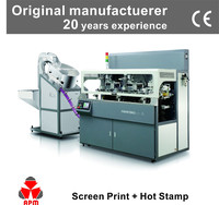 SH107 auto 2 colors screen printing+1 color stamping machine