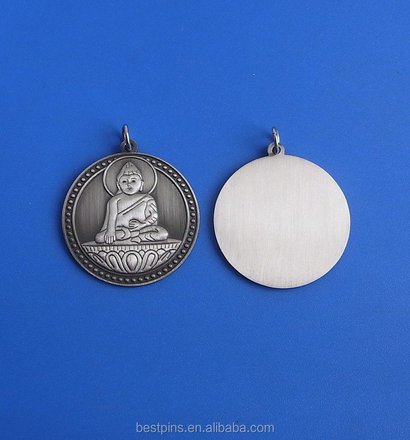 3D round embossed Buddha shaped pendant charm tags