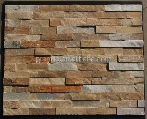 yellow stone slate natural culture stone for home decoration 3D wall tile