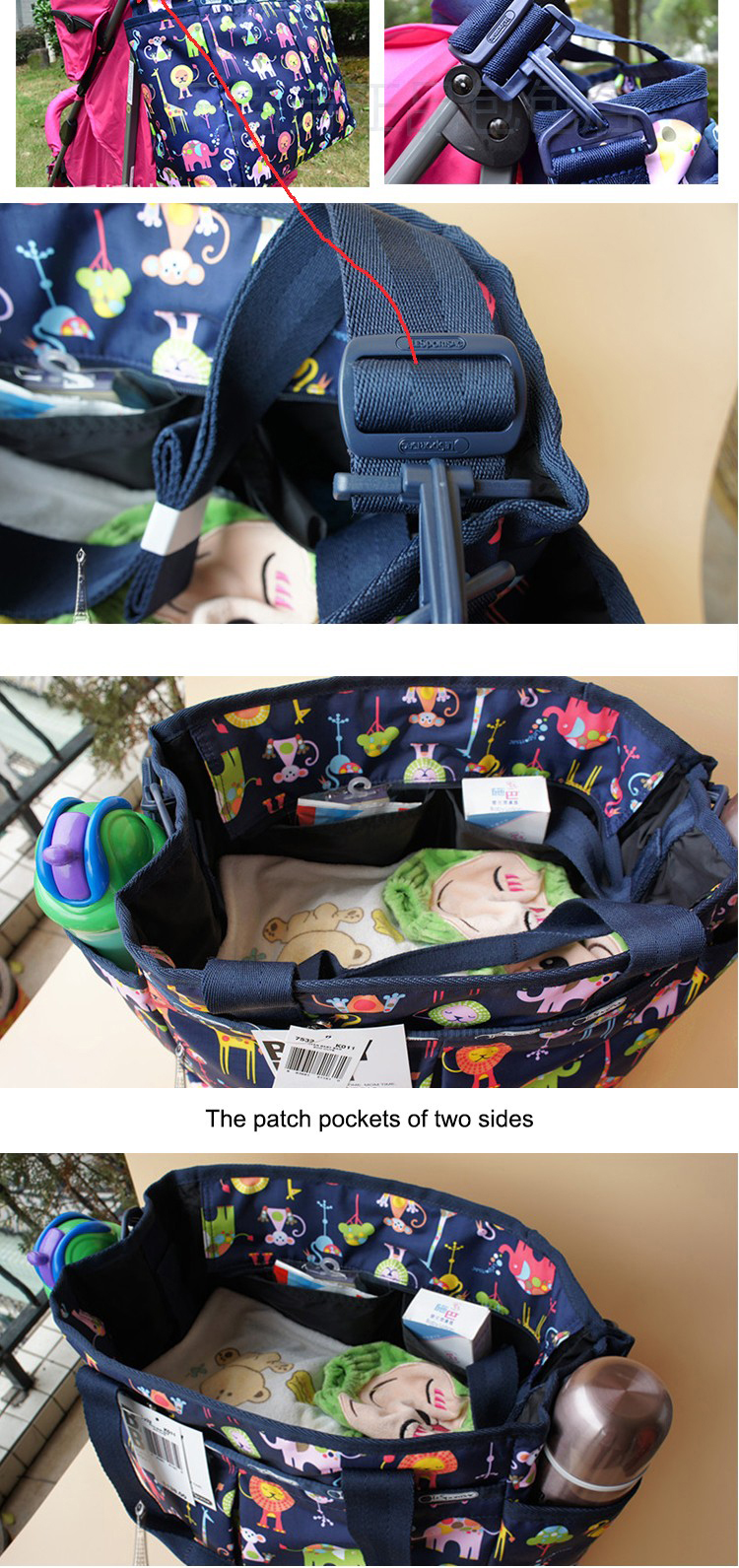 Multi-function folding travel bassinet mother's baby carry nylon changing diaper bag