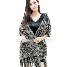 CX-B-66 Women Wholesale Russian Knitted Rabbit Fur Shawls With Pockets