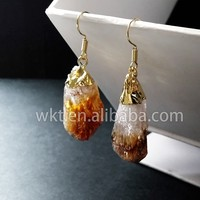 New! Natural yellow citrine pendant earrings, raw yellow citrine earrings WT-E055