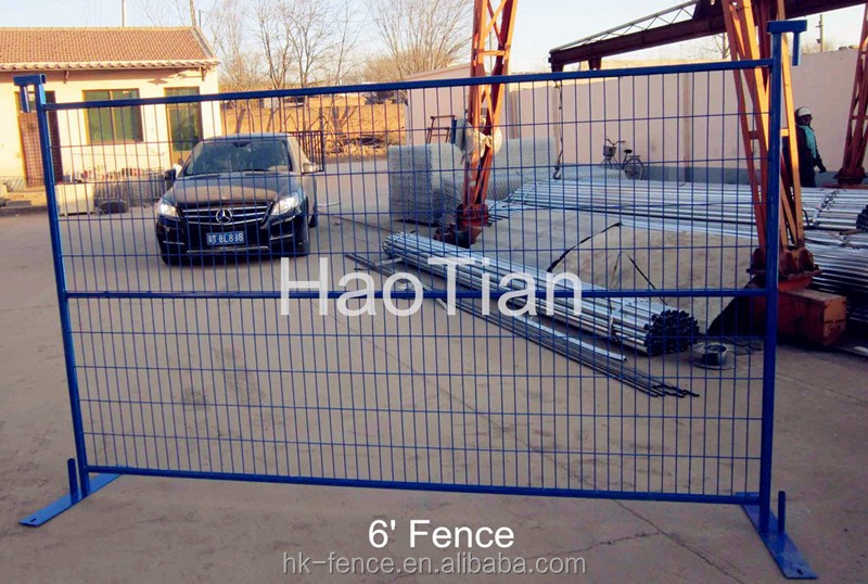 6'x9.5' feet construction portable fence 3.5mm wire welded tubular frame Canadian style colored temporary fencing