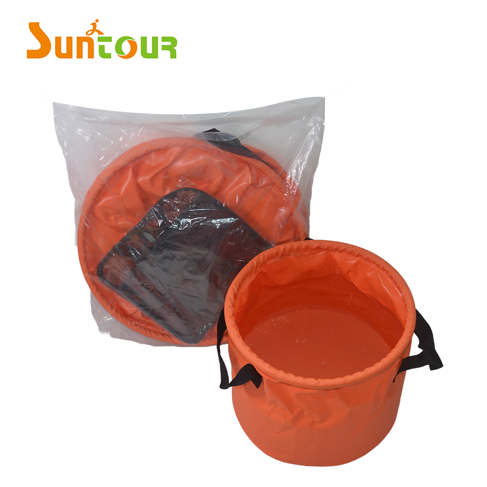 PVC Material Outdoor Camping Multi-Purpose Folding Collapsible Water Container With Inside Mesh Bucket