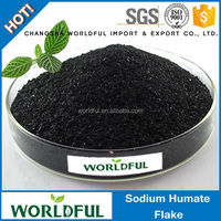 100% water soluble sodium humate shiny flake for oil drilling industry / sodium humate