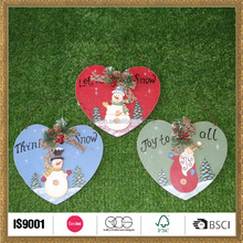 manual household christmas decorations of wood colorful heart
