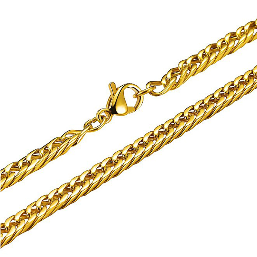 Olivia In Stock Customize Logo Large Link Chain Necklace Golden Stainless Steel Chain Jewelry Men