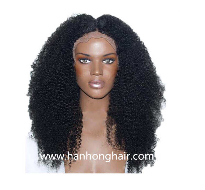 High Density Women Brazilian Virgin Hair Natural Color Afro Kinky Curl Human Hair Lace Front Wigs