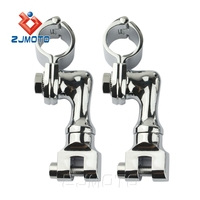 "Chrome Offset Highway Foot Peg Mounts with 1"" Magnum Clamps for Harley Davidson"