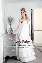 Crazy Hot 2012 new listed stacked & fashionable tow pieces Taiwant taffeta bridal wedding gown UW1259