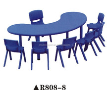 Colorful nursery school furniture, single table attach 3/4/5/6 chair for sale R808-8