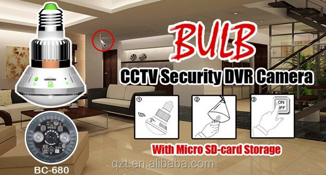 BC-680 Bulb Lamp CCTV Camera Bulb IR LED Security DVR Video ecorder Motion Detection 3.6mm lens