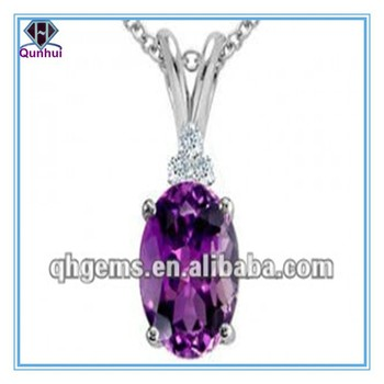 Fashion Gemstone Silver Necklace With Oval Shape Purple CZ