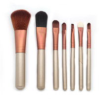 Gold Bling Hot Selling Synthetic Hair Makeup Brush Wood Handle 7pcs Makeup Naked 4 Brush Set