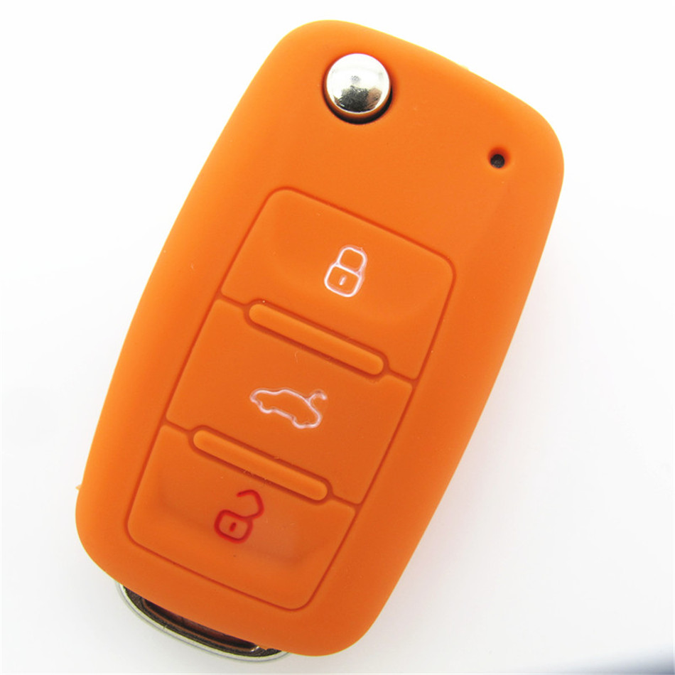 Silicone car key cover 3 buttons flip key silicone case for vw car