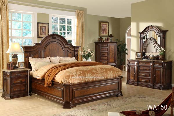 Manufacturers list cheap price solid wood bedroom furniture wa150 buy solid wood bedroom Set de chambre king noir