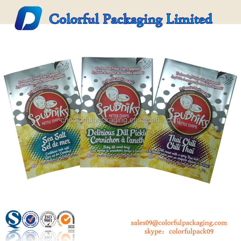 custom printing potato chips aluminium foil packing pouch / potato chips packaging