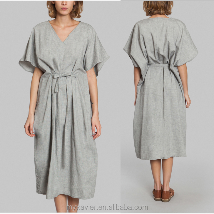 Oversized fit grey cotton shirt dress women V-neck collar shorts wide sleeves with cinched waist with adjustable sash midi style