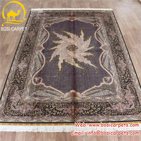 6x9' Purple oriental decor home hand knotted silk carpet made in turkey