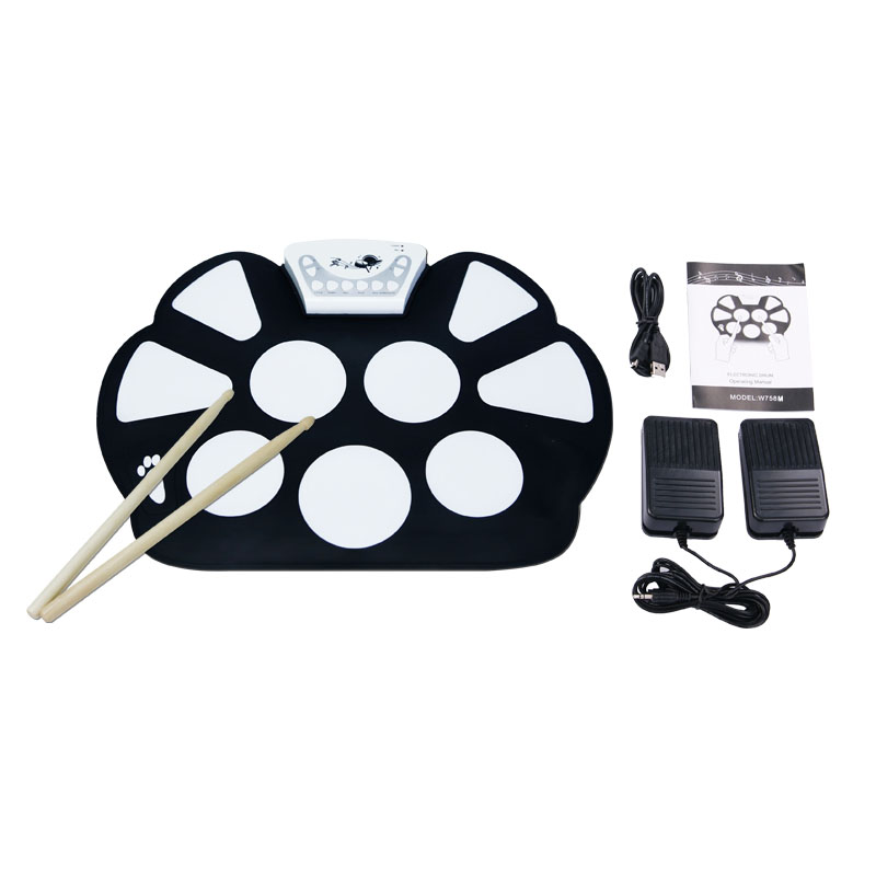 Play Games On The MAC Usb Flexible drum kits MID Electric Drum Kit For Children With 9 Pads Musical School Gift