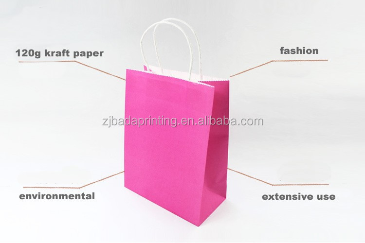 Eco-frendly Different Colors Kraft Paper Bags/Custom Cheap Shopping Gift Bag