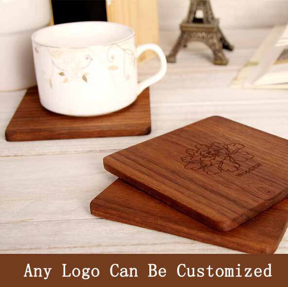 Walnut Wood Coaster Tea Coffee Cup Mat Kitchen Table Decor