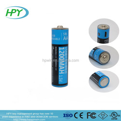 Factory Supplier Micro USB AA rechargeable lithium polymer battery 1.5V 1200mah for wireless mouse
