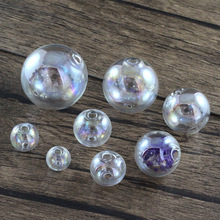 Pearly Lustre Empty Ball With Double Hole AB Color Glass Beads Hollow Glass Ball GL-138