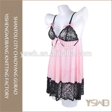 Pink lace comfortable thin babydoll , sexy lingerie for fat women