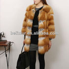1320 woman long red fox fur coat