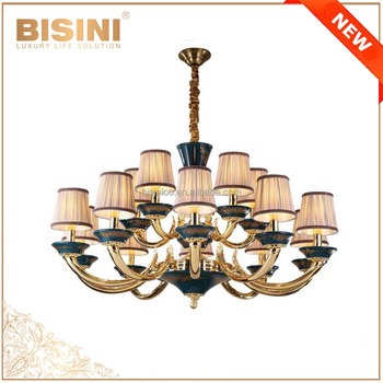 Bronze Baroque Style Large Chandelier for Home/Hotel/Hall, Luxury 24 Gold Plated Porcelain Pendant Light