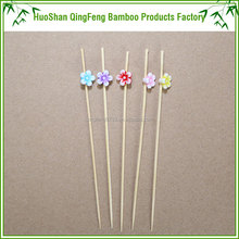 QF custom bamboo party decorative floral stick fruit cocktail stick