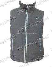 Rechargeable Battery heated vest with LED temperature controller on chest