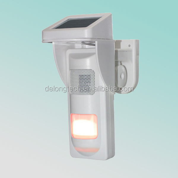 independent solar Alarm infrared heat detector With Sound and Light Alert