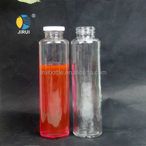 500ml small custom made fruit shaped clear cylinder screw top glass fruit juice bottle with tin lid for juice