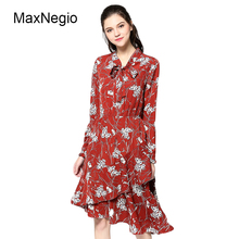 Maxnegio Fashion Ladies Long Sleeve Maxi Dress Casual Women Dresses Elegant Floral Print Plus Size Clothes