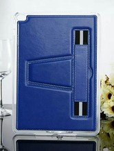 portable book style fancy tablet leather case with elastic band tablet stand case for IPAD mini