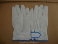double palm leather work glove white color