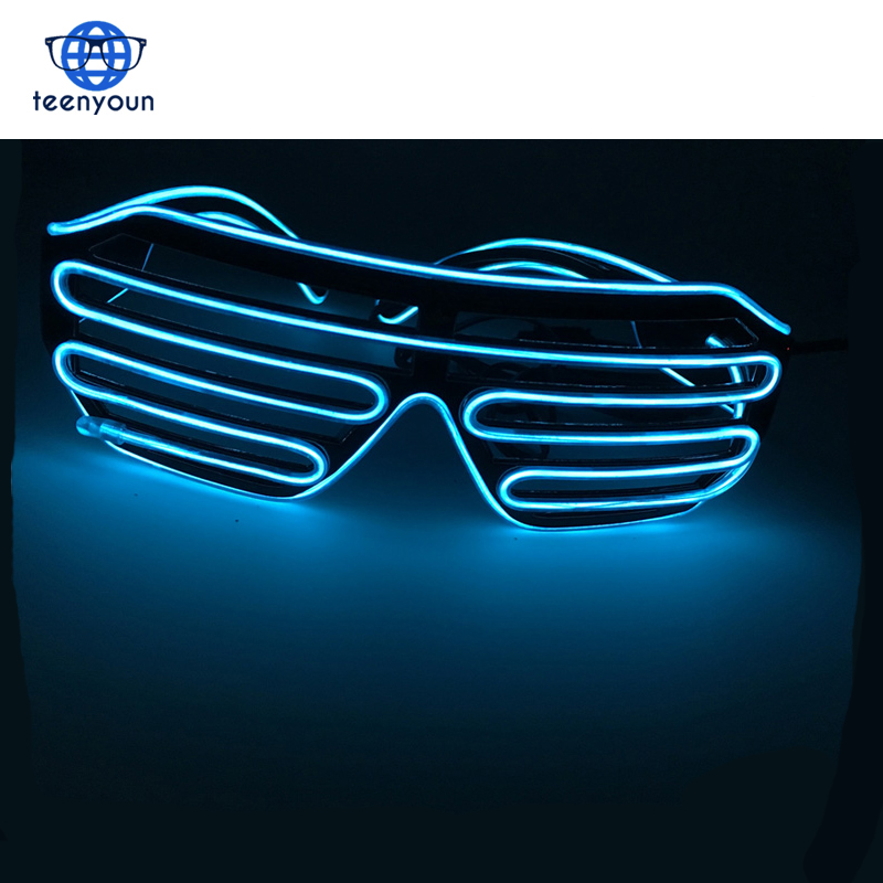 3 Modes Quick Flashing EL LED Glasses Ice Blue Luminous Party Lighting Colorful Glowing Classic Toys For Dance DJ Party Mask