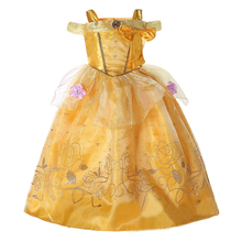 2017 New fashion long frock custom made halloween costume belle princess dress for kids SMR017