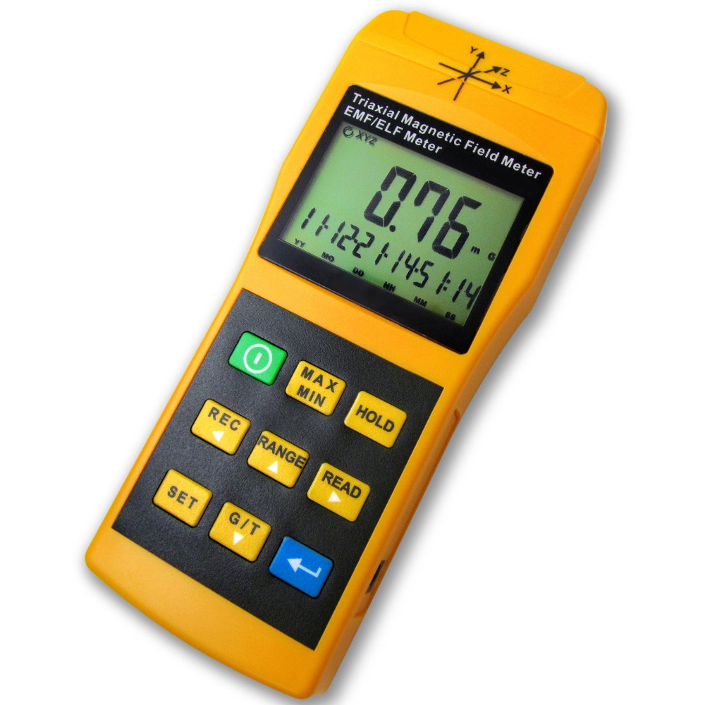 3-Axis Gauss EMF ELF Meter Detector, Electromagnetic Field Radiation Intensity 20/ 200/ 2000 mG & uT for Microwave Computer Line